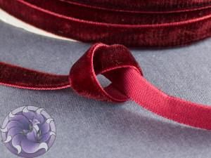 Лента бархатная 1см Красная