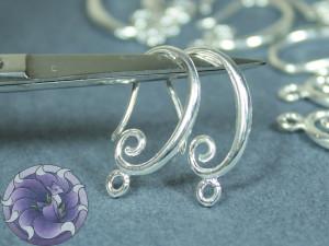 Швензы крючки 22х11мм с завитком, Цвет серебро