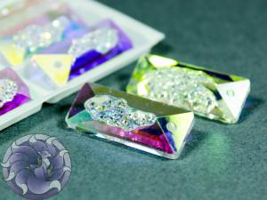 Кристалл подвеска Друза Прямоугольная 26 мм Цвет White AB