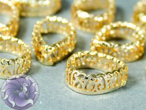 Оправы для кристаллов ажурная Капля 10х14мм, цвет золотые