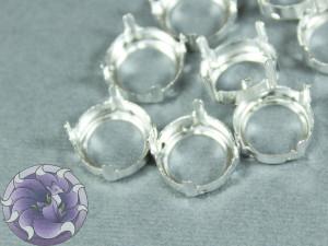 Оправы для кристаллов Круглые белое серебро 12 мм