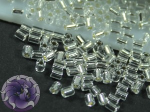 TOHO Стеклярус 5г - Bugle #0 (2mm) : Silver-Lined Crystal TB-00-21