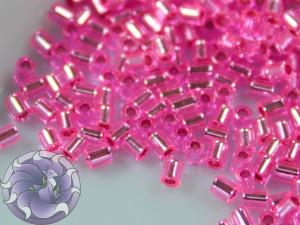 TOHO Стеклярус 5г - Bugle #0 (2mm) : Silver-Lined Hot Pink TB-00-2216