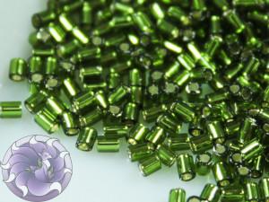 TOHO Стеклярус 5г - Bugle #0 (2mm) : Silver-Lined Olivine TB-00-37