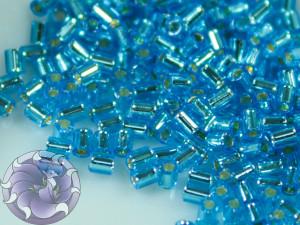 TOHO Стеклярус 5г - Bugle #0 (2mm) : Silver-Lined Dk Aqua TB-00-23B