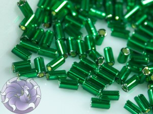TOHO Стеклярус 5г - Bugle #1 (3mm) : Silver-Lined Green Emerald TB-01-36