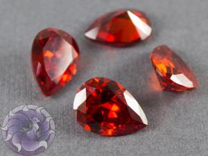 Кристалл фианит капля 13х18мм №12 Красно оранжевый