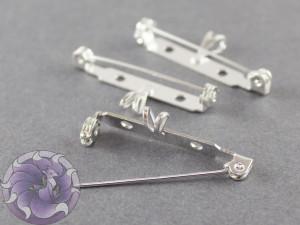 Основа для броши с подвеской безопасная 35 мм Цвет Серебро