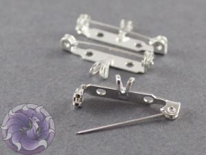 Основа для броши с подвеской безопасная 27 мм Цвет Серебро