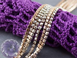 Стразовая цепь ss6 2мм Серебряный гематит основа розовое золото RG107