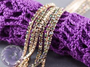 Стразовая цепь 2мм ss6 Rainbow основа розовое золото RG103