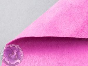 Кожа натуральная итальянская тонкая 0,6-0,8мм Велюр розовый