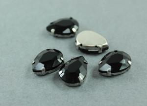 Кристалл Капля 10*14мм в серебряной оправе, Цвет Черный
