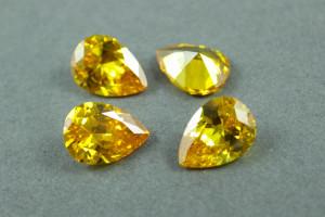 Кристалл фианит капля 13х18мм №05 Золотисто желтое
