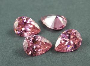 Кристалл фианит капля 13х18мм №01 Розовый