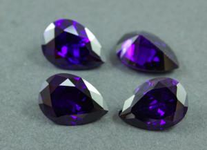 Кристалл фианит капля 13х18мм №07 Фиолетовый