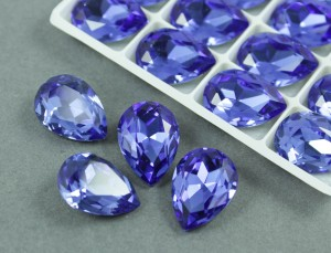 Кристалл Капля 18х13мм цвет Синий