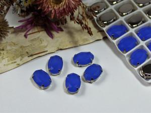 Стразы Овал в серебряной оправе 14х10мм цвет Синий