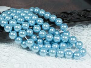 Жемчуг стеклянный 8мм 27шт цвет Светло голубой