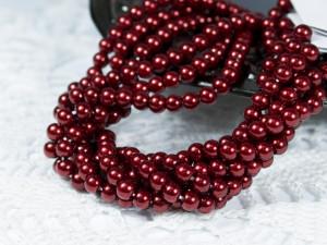 Жемчуг стеклянный 4мм 104шт цвет темно-красный