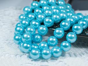 Жемчуг стеклянный 10мм 21шт цвет Голубой