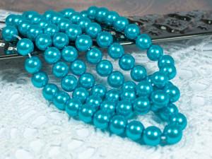 Жемчуг стеклянный 8мм 27шт цвет Синий