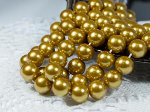 Жемчуг стеклянный 10мм 21шт цвет Темное золото