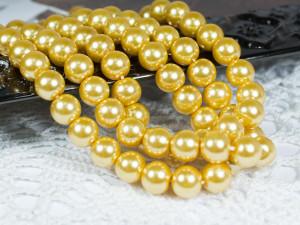Жемчуг стеклянный 8мм 27шт цвет золотой