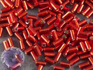 Стеклярус TOHO bugle #1 3мм Silver-Lined Siam Ruby