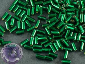Стеклярус TOHO bugle #1 3мм Silver-Lined Green Emerald
