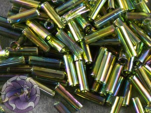 Стеклярус TOHO bugle #2 6мм Transparent-Rainbow Olivine