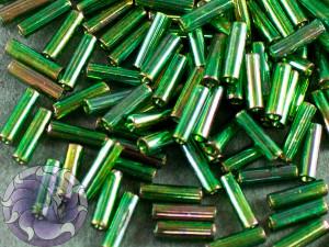 Стеклярус TOHO bugle #2 6мм Gold-Lustered Emerald