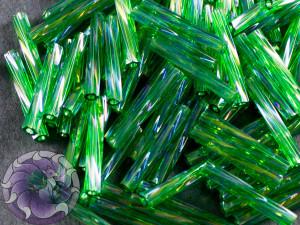 Стеклярус витой 2*12мм Miyuki Transparent Green AB