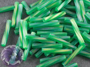 Стеклярус витой 2*12мм Miyuki Matte Transparent Green AB