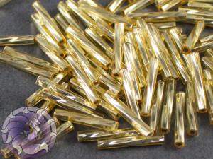 Стеклярус витой 2*12мм Miyuki Silverlined Gold
