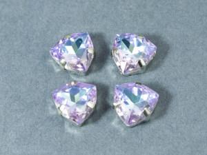 Кристалл форма Триллион 12мм, цвет Vitrail Light, оправа серебро