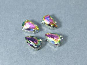 Кристалл форма Slim Trilliant 14*9мм, цвет Rainbow, оправа серебро