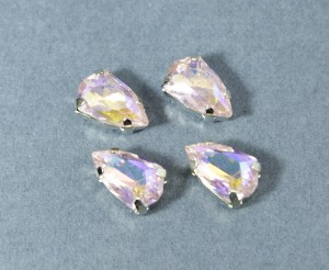 Кристалл форма Slim Trilliant 14*9мм, цвет PinkAB, оправа серебро