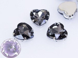 Кристалл страз стекло 16мм цвет Black Diamond, оправа серебро