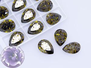 Кристаллы К9 Капля 18х13мм цвет Light Topaz Black Patina