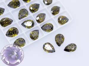 Кристаллы стекло К9 Капля 14х10мм цвет Light Topaz Black Patina