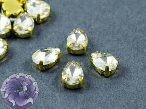 Кристалл в золотой оправе Капля 10x8мм Crystal