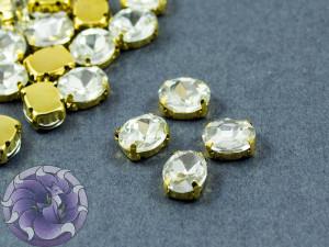 Кристалл в золотой оправе Овал 10x8мм Crystal