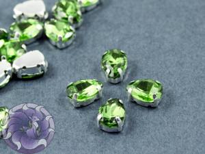 Кристалл в серебряной оправе Капля 10x8мм Peridot