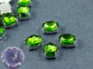Кристалл в серебряной оправе Овал 10x8мм Green