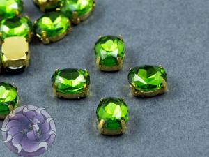 Кристалл в золотой оправе Овал 10x8мм Green