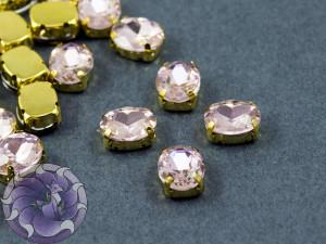 Кристалл в золотой оправе Овал 10x8мм Ligth Pink