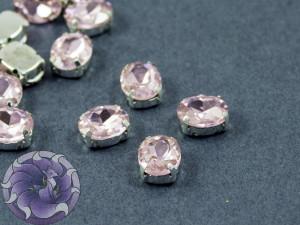 Кристалл в серебряной оправе Овал 10x8мм Ligth Pink