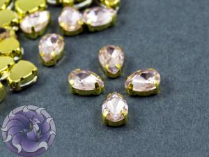 Кристалл в золотой оправе Капля 10x8мм Ligth Pink