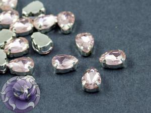 Кристалл в серебряной оправе Капля 10x8мм Ligth Rose